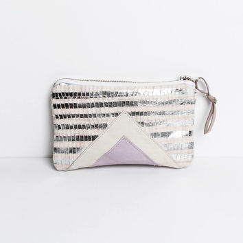 Silver Pink Metallic Leather Purse // Art Deco Pouch // Geometric Clutch // Holographic Bag // Iphone Case