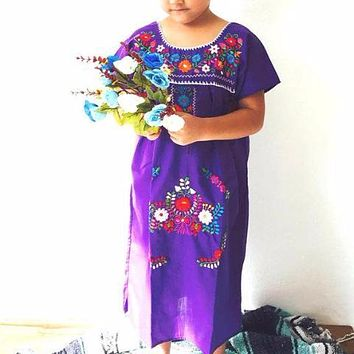 Mexican Dress for Girls Purple