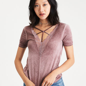 AEO Soft & Sexy Lacy Double-V T-Shirt, Burgundy
