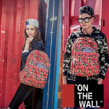 VansFashion Personality printing large capacity backpack bag leisure travel boom Red peach 7 style