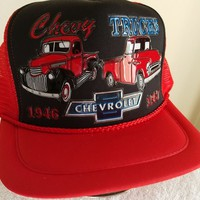Chevy Trucks, 1946 & 1957 in 3-D Graphics on Red mesh w/black trim ball cap