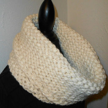 Infinity Scarf Cowl Hood Chunky Handmade Knit Wool Cream White Gold Metalic Ready to Ship