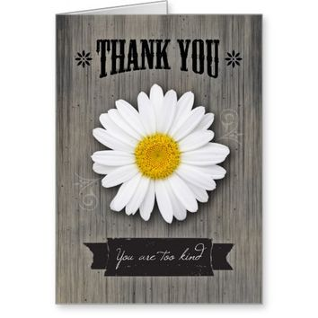 Thank You, Rustic Daisy on Weathered Wood Greeting Card