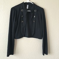 Black Long Sleeve Open Jacket With Black & Gold Buttons By Chocolate Size L