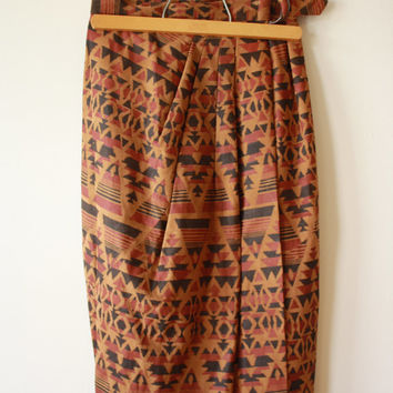 SALE Ethnic Navajo Suede Leather Wrap Skirt Womens