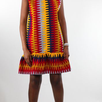 African Print Peplum Dress(Ruffle Hem)-Orange/Red/Navy Blue Fern Print