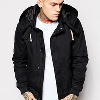 ASOS Twill Hooded Jacket In Black