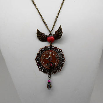Steam Punk Angel Wing Necklace, Time Flies Necklace, Clock Parts Necklace, Steam Punk Pendant and Wings Necklace