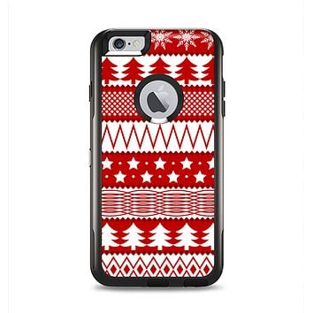 The Red and White Christmas Pattern Apple iPhone 6 Plus Otterbox Commuter Case Skin Set