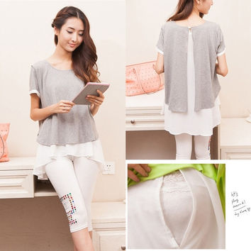 Cotton Chiffon Maternity Nursing Tops Breast Feeding Clothes for Pregnant Women 2015 New Summer Fashion Pregnancy Shirts = 1946015556