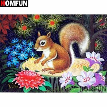 5D Diamond Painting Squirrel in the Flowers Kit
