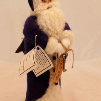 Santa, Needle Felted Hand dyed, Needle Felted, Purple Wool Santa
