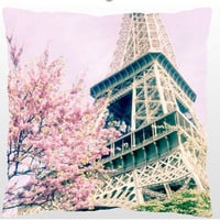 Paris Eiffel Tower Pink Decorative Throw Pillow
