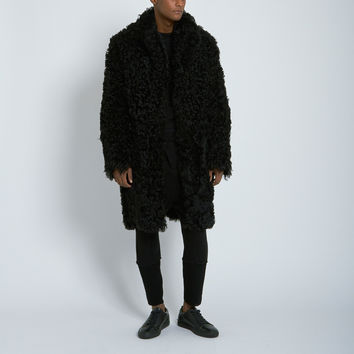 Nahariya Alpaca Fur Coat in Black