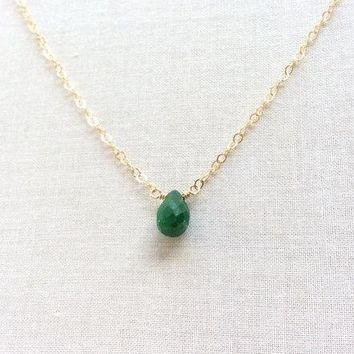 Emerald May Birthstone Gold Filled Chain Necklace