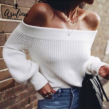 AZULINA Off Shoulder Sweater Lantern Sleeve White Sweater Pullovers Female Casual Sweaters Women Clothing Pull Femme