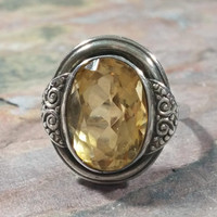 Vintage 835 Silver Yellow Citrine Gemstone Fully Faceted Large Bezel Set Open Back November Birthstone Ring Size 6.75 Standout Beauty