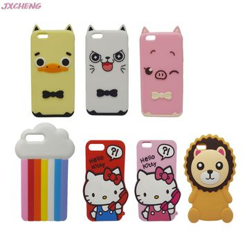 New 3D Cartoon Case for iPhone 8 6 7 6S Plus 5 5s SE 4 4S Rainbow Cloud Duck Cat Pig Hello Kitty Lilo Dog Silicone Phone Case