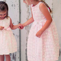 Pink Mesh Tulle Occasion Dress Covered with Satin Ribbon Flowers (Girls Sizes 2T - 8)