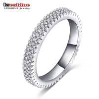 Fashion Jewelry Circle Eternity Ring Silver Plated Micro Inlay Austrian Cubic Zirconia Unique Engagement Ring