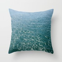 Deep Teal Sea Throw Pillow by Lisa Argyropoulos