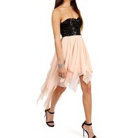 Aletta-Blush/Black Mint Prom Sequin Dress