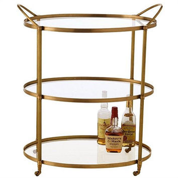 Arteriors Home Connaught Antique Brass Bar Cart