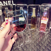 Hot! Phone case for iPhone 6 Liquid Quicksand clear transparent Phone Case soft back Cover Red Wine Glass cocktail beer