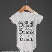 Wake up-Unisex White Baby Onesuit