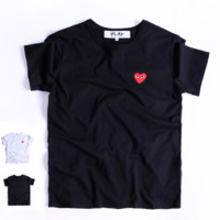 Trendy Play Heart Print Unisex T-Shirt Tee Tops