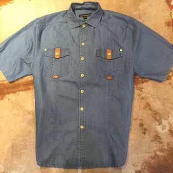 Public Denim Lux-769 Light Blue Linen Button Down Shirt