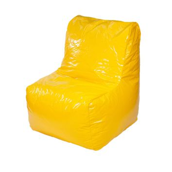Sectional Wet Look Vinyl Bean Bag Chair - Yellow