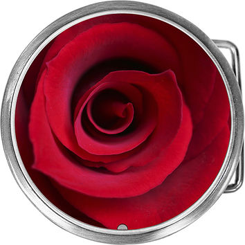 Close Up Red Rose Belt Buckle