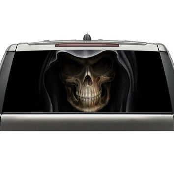 shenzhen aliexpress best selling products custom car rear windshield decals skull head graphic vinyl stickers with free shipping - Black, 165X56CM