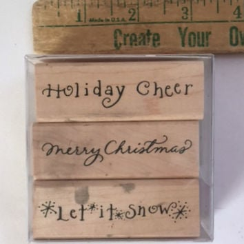 Denami Design Set of 3 Wood Rubber Stamps Holiday Cheer Let It Snow Merry Christmas Embossing Scrapbooking Supplies Mounted Case