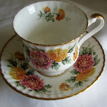 Vintage Paragon Fine Bone China, Pretty Pink Yellow Chrysanthemums, Teacup and Saucer, Perfect For Any Tea Lover