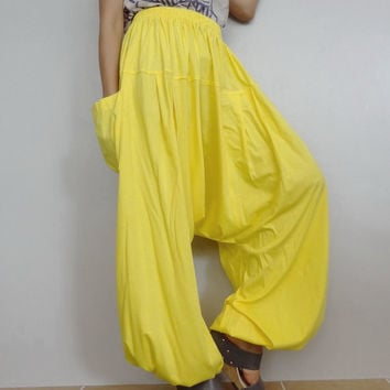 Canary Drop crotch long trouser,Unisex Yoga unique Baggy harem pants, cotton blend (Drop pants-37).