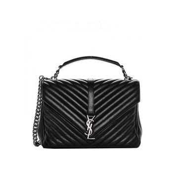 Saint Laurent YSL Women's Black Sheepskin Classic Large College Monogramme Handbag 392738