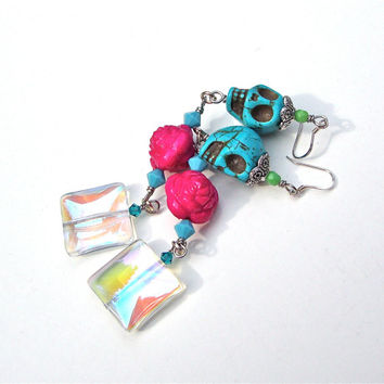 Unique long funky sugar skull earrings with fuscia roses - crazy blue skull, pink rose and crystal bead earrings by Sparkle City Jewelry