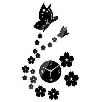 Hot Mirror Wall Stickers 3d Acrylic Europe Sticker Home Decor Poster Kitchen Butterfly Horse Large Wall Clock