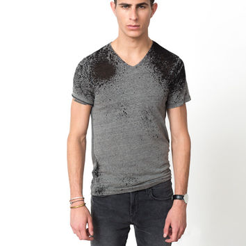 Burnout V-Neck in Grey