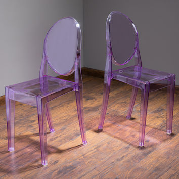 Cayden Transparent Purple PC Ghost Accent Chairs (Set of 2)