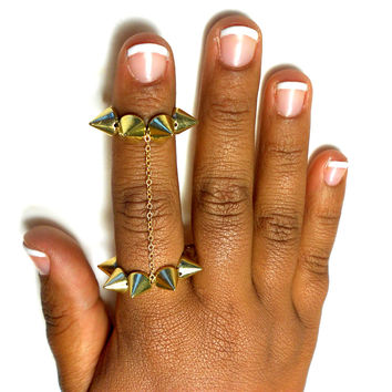 Gold Spike Double Knuckle  Ring