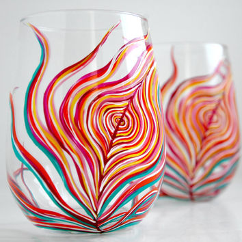 Neon Peacock Feather Stemless Glasses--Set of 2