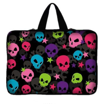 "7 10 11.6 13 13.3 14.4 15.6 17"" Skull Laptop Sleeve Bag Neoprene Notebook PC Bags Tablet Case For macbook Air/Pro/Retina"