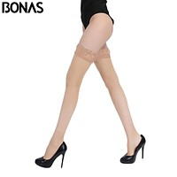 BONAS Thigh High Stocking Women Summer Over The knee Socks Sexy Bas Femme Hosiery Nylon Lace Style Stay Up Stockings Plus Size