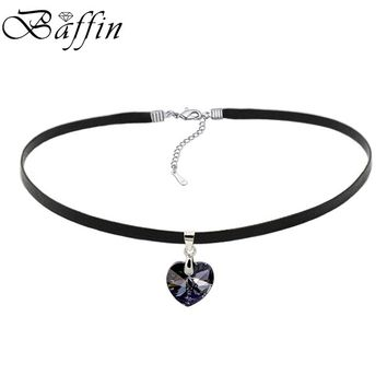 BAFFIN XILION Heart Pendant Choker Necklace Crystals From Swarovski Elements Rope Chain Collier For Women 2017 Vintage Jewelry