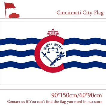 US 3x5 Foot Polyester Banners Cincinnati City Flag Ohio State 90*150cm 60*90cm Flag For Vote Home Decoration Event