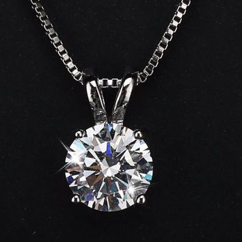 LOWAY Classic Permanent 2 Carat Solitaire Hearts and Arrows Cubic Zirconia Pendant Necklace Fine Jewelry for Women XL1804