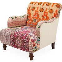Britta Club Chair, Orange/Pink, Club Chairs